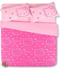 SET COPRIPIUMINO LENZUOLA HELLO KITTY UNA PIAZZA FUXIA