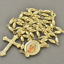 27.5 Inches Lucky 9K Gold Filled Rosary Pray Bead Mary Cross Necklace,Z2968