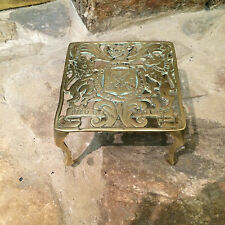 "RARE ANTIQUE ENGLISH VICTORIAN BRASS TRIVET KETTLE STAND ""DIEU ET MON DROIT"""