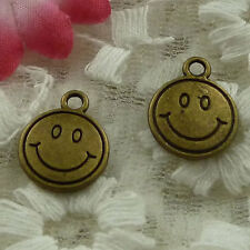 free ship 60 pieces bronze plated smiling face charms 16x13mm #3833