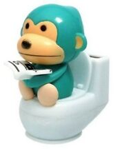 A Blue Monkey Reading on Toilet Bowl Solar Toy Home Decor Holiday Gift US Seller