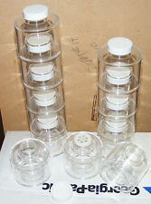 12 - stacking TWIN TOWERS of 6 - Acrylic Spice jars / bottles