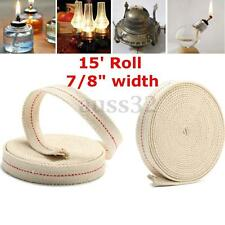 15' Roll 7/8'' DIY Replacement White Flat Cotton Glass Oil Lamp Wick Holders