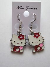 Hello Kitty Style Dangle Earrings Red Holding Star Enamel Charms French Hooks