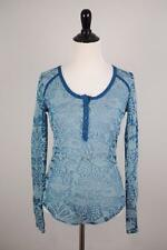 FREE PEOPLE Sz S [G79] Turquoise Blue Damask Burnout Henley Sheer Long Sleeve