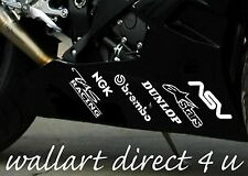 Belly Pan Decals Stickers Vinyl Race Track day Bike  X 12  WHITE bellypan race