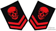 LOT 2 RED SKULL PATCH iron-on EMBROIDERED MILITARY SKELETON CHEVRON DEATH RANK