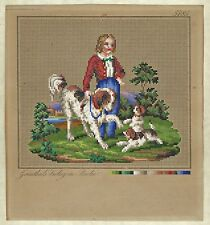 Berlin Woolwork Hand-Painted Chart PATTERN 19th Century ~ Boy and Dogs
