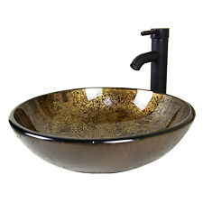 Bathroom Round Glass Vessel Sink W/Oil Rubbed Bronze Faucet & Pop-up Drain Combo