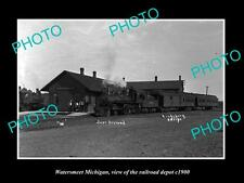 OLD LARGE HISTORIC PHOTO OF WATERSMEET MICHIGAN, RAILROAD DEPOT STATION c1900