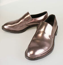 New. BRUNELLO CUCINELLI Brown Patent Leather Loafers Shoes Size 8/38 $1170