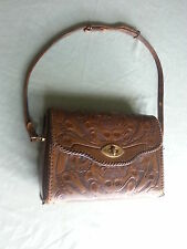 VINTAGE HAND TOOLED JAY-O-KAY LEATHER WESTERN CATTLE WOMEN WHIP STITCHED PURSE