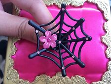 Betsey Johnson HUGE Black Spider Web Pink Crystal Flower Ring 7.5 VERY RARE