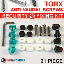 21x NUMBER PLATE CAR FIXING SECURITY SCREWS & CAPS HINGED PLASTIC COVER CAPS KIT