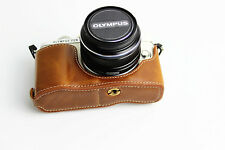 Brown Leather Bottom Case Half Cover For Olympus E-PL7 camera EPL7 BLACK SILVER
