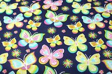 BRIGHT BUTTERFLY PINK BLUE YELLOW FLANNEL FABRIC 100% COTTON SEWING QUILTING BTY