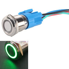 19mm 12V Car Green LED Light Angel Eye Button Metal Toggle Switch Plug AT1 Sales