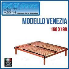 RETE A DOGHE IN LEGNO 160X190 MATRIMONIALE IN FAGGIO NATURALE CON AMMORTIZZATORI