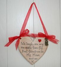 Wooden heart plaque Mother Mum Birthday Mothers Day with Charm Beautiful gift