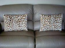 "2 LARGER SHEARED SPOTTED LEOPARD RABBIT FUR PILLOWS  21 "" X 16"" cushion throw"