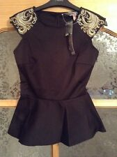 BNWT�� Lipsy��Size 6 Black Embellished Beaded Shoulder Fitted Top Blouse XS New