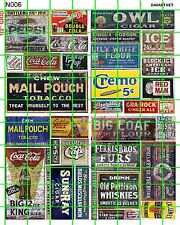N006 DAVE'S DECALS N SCALE GHOST SIGNS ADVERTISING SET 6 MAIL POUCH CREMO MIXED