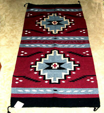 "Hand Woven Wool Throw Rug Southwestern Western 32""x 64"" Tapestry #211"