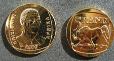 NELSON MANDELA GOLD PLATED PROOF LIKE R5 YEAR 2000 COIN - MADIBA - MEMORABILIA