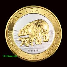 2015 Canada 1.5 oz Silver $8 Polar Bear & Cub 24K Gold Gilded Free Shipping