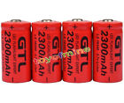 4x 3.7V CR123A 123A CR123 16340 2300mAh Red GTL Rechargeable Battery Cell