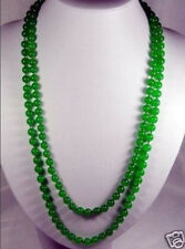 "8mm natural green jade beads Necklace 50"" LL002"