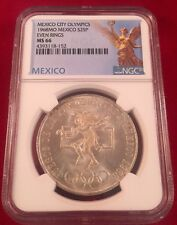 1968-Mo Mexico City Olympics $25 Pesos Even Rings Silver Coin NGC MS66