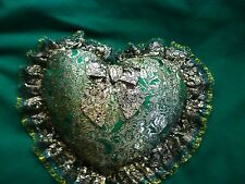 """Throw Pillow, Heart Shaped- Gold/Green Lace Removable Cover - 15"""" x 12"""""""