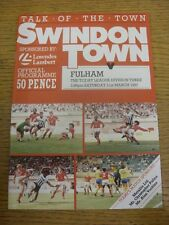 21/03/1987 Swindon Town v Fulham  . Item appears to be in good condition unless