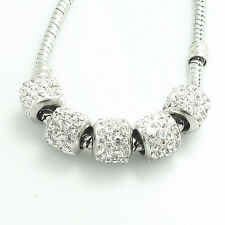Hot 10pcs silver big hole spacer CZ beads fit Charm European Bracelet DIY SF50