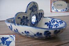 porcelaine blanc bleu de Hué Viet Nam ancien plat serviteur ou saleron rare