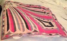 AUTHENTIC VINTAGE EMILIO PUCCI SILK SCARF GREY/WHITE/PINK  321X34 INCHES