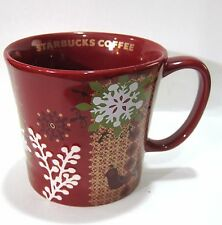 Starbucks Coffee Red Embossed Christmas Snowflake Ceramic Mug 12 oz.