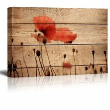 "Canvas Prints Wall Art - Poppy Flowers on Vintage Wood Background - 24"" x 36"""
