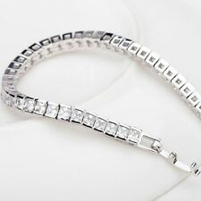 "7.00Ct Princess Cut Diamond Tennis Women's Bracelet 7.55"" 14K White Gold Toned"
