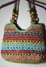 Cappelli Straworld  straw bag with wooden beads on straw handle