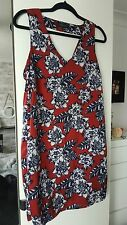 Burgandy red flowery dress from New Look size 12 with back cut out detail
