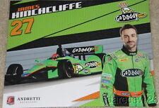 """2012 James Hinchcliffe Go Daddy """"1st issued"""" Chevy Dallara Indy Car postcard"""