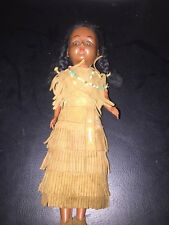 Hard Plastic Indian Doll in Leather with Papoose Baby  Eyes open and close