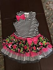 NEW BONNIE JEAN BLACK/WHITE FLORAL STRIPE TUTU DRESS GIRLS SIZE 24MONTHS