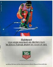 Publicité Advertising 1992 Montres Tag Heuer sponsor officiel Ski Francais