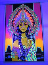 Vintage Psychedelic Blacklight Poster INDIAN PRINCESS Trippy RARE Original Trip