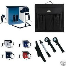 PORTABLE MINI PHOTO STUDIO KIT WITH 2 X  50W LIGHTS, MONOPOD & 4 BACKGROUNDS