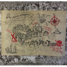 Disney Parks Pirates of the Caribbean Ride Souvenir Treasure Map Isla del Tesoro