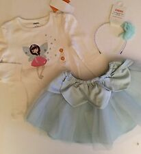 NWT 3T Gymboree SNOWFLAKE UNICORNS Light Blue Satin Petal Tutu Top Headband Set